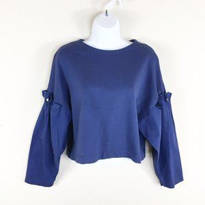 Zara Woman Cropped Blue Pearl Sleeve Top Small